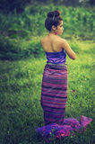 Asian woman wearing Thai Lanna series, identity culture of Thail Stock Image
