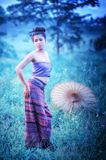 Asian woman wearing Thai Lanna series, identity culture of Thail Stock Photography