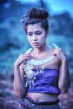 Asian woman wearing Thai Lanna series, identity culture of Thail Stock Photo