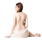 Asian woman wearing towel sitting on the floor Stock Photography