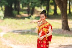 Asian woman wearing traditional Laos culture at temple. Royalty Free Stock Image