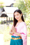 Asian woman wearing traditional thai culture,vintage style,Thail Stock Photo