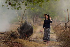 Asian woman wearing typical (Traditional) Thai dress. Asian woman wearing rural Thai dress with her buffalo royalty free stock photos