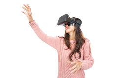 Asian woman wearing virtual reality goggle Stock Image