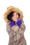 Woman Wearing Winter Coat Stock Photo