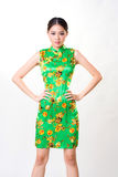 Asian woman wears chinese traditional dress Royalty Free Stock Photo