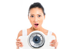 Asian woman with weight scale losing weight Royalty Free Stock Photo