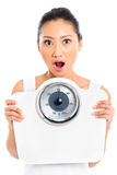 Asian woman with weight scale losing weight Royalty Free Stock Image