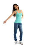 Asian Woman welcome gesture Royalty Free Stock Photos
