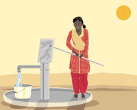 Asian woman at a well. A hand drawn illustration of an asian woman at a well pumping water dressed in salwar kameez under a setting sun Royalty Free Stock Photo