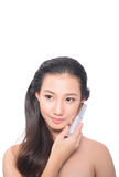 Asian woman on white background Stock Images