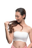 Asian woman on white background Royalty Free Stock Photos