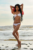 Asian woman in white bikini Royalty Free Stock Images