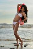 Asian woman in white bikini Royalty Free Stock Photos