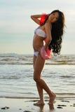 Asian woman in white bikini Royalty Free Stock Photo
