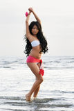 Asian woman in white bikini Royalty Free Stock Photo