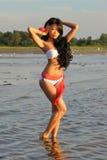 Asian woman in white bikini Royalty Free Stock Image