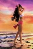 Asian woman in white bikini Stock Photography