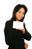 Asian woman with white card. Royalty Free Stock Photo