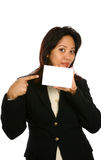 Asian woman with white card. Royalty Free Stock Images