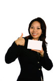 Asian woman with white card Stock Photos
