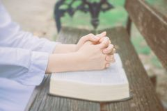 Asian woman with white dress believe in God. Woman pray with bible in the garden, Asian woman with white dress believe in God, Bible and christian study concept Royalty Free Stock Images