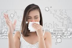Asian woman in white dress catch her nose because of a bad smell. Against cartoon city background Royalty Free Stock Photo