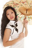 Asian woman white dress close looking umbrella Stock Images