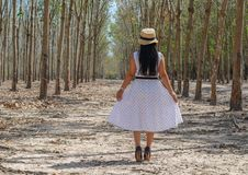 An Asian woman in white dress stock photography