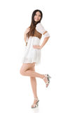 Asian woman with white short dress Stock Photos