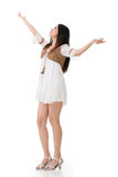 Asian woman with white short dress Royalty Free Stock Photography