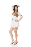 Asian woman with white short dress Royalty Free Stock Images
