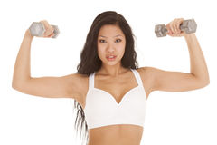 Asian woman white sports bra weights Stock Image