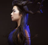 Asian woman with wind in the hair Stock Photography