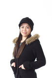 Asian woman in winter fashion Royalty Free Stock Photography