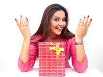 Asian Woman With A Gift Box Stock Image