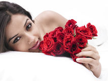 Asian Woman With Roses Royalty Free Stock Images