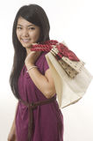 Asian Woman With Shopping Bags Royalty Free Stock Image