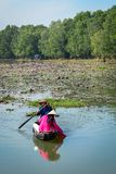 Asian woman on the wooden boat stock photo