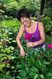 Asian Woman at Work in the  Garden Royalty Free Stock Photo
