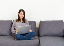 Asian woman working at home Royalty Free Stock Photo