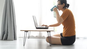 Asian woman working at home stock footage