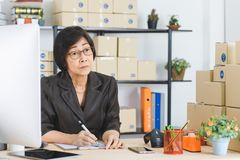 Asian woman working royalty free stock image