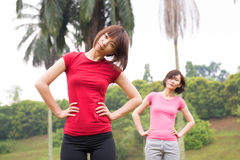 Asian woman workout outdoor stock images