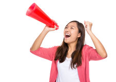 Asian woman yell with loudspeaker Stock Photos