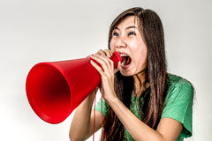 Asian woman yelling Royalty Free Stock Photography