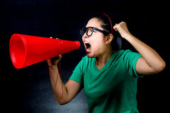 Asian woman yelling Stock Images