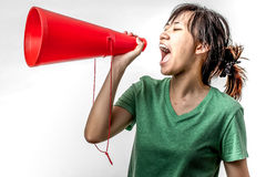 Asian woman yelling Royalty Free Stock Photos