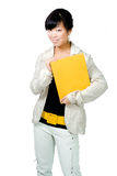 Asian woman with yellow book and belt Stock Photos