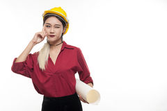 Asian woman with yellow safety helmet Royalty Free Stock Photography